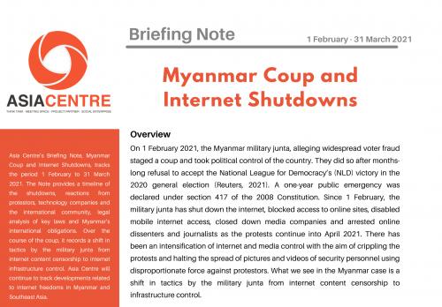 Myanmar Coup and Internet Shutdowns